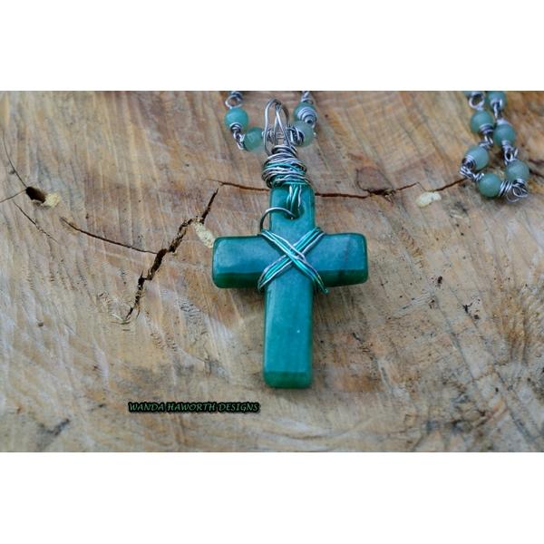 Aventurine hand carved cross