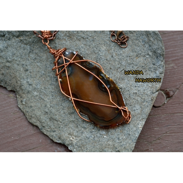 BC brown slab agate pendant necklace