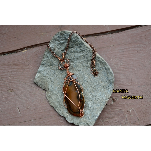 BC hand cut brown slab agate pendant necklace
