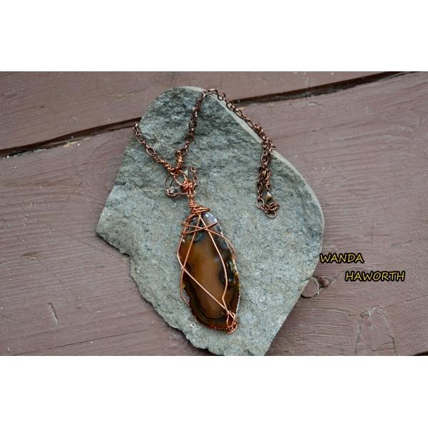 BC hand cut brown slab agate pendant necklace