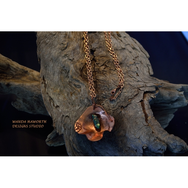Open fire forged copper flower pendant