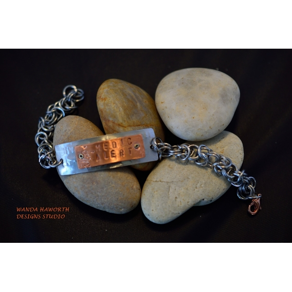 Stainless and copper medic alert bracelet