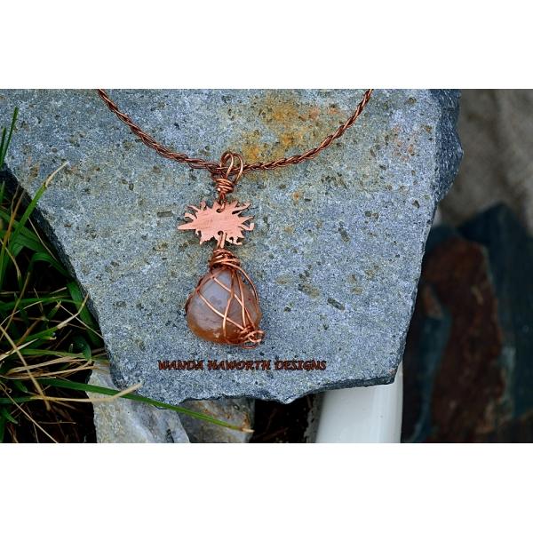 Sunstone and copper choker