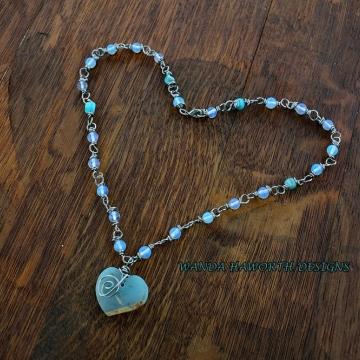 Blue agate heart pendant