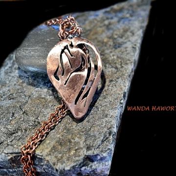 Solid copper horse head pendant