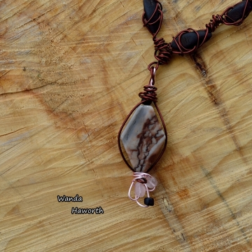 Hand cut BC jasper stone pendant necklace
