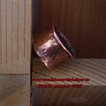 Open fire forged solid copper ribbon ring