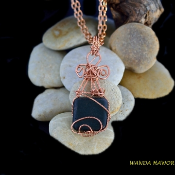 Onyx Stone Pendant , Square Cut and Matte Finished , Copper Wire Wrapped , 16 Inch Double Length Chain