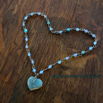 Hand Cut Blue Agate Heart , Moonstone and Abalone Necklace