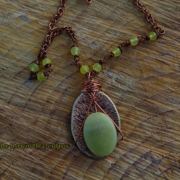 Apple Green Jade and Hammered Brass Pendant , Apple Green Jade Accents on a 18 inch brass curb chain
