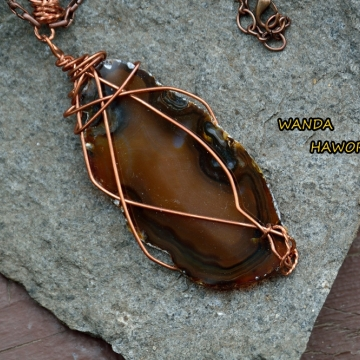 British Columbia Hand Cut Brown Slab Agate Pendant , Wire Wrapped With Copper Wire