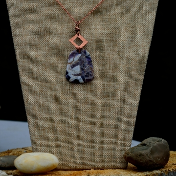 Polished Amethyst Quartz Citrine Confetti Hand Cut Rectangular Pendant with a Square Hand Cut  Hammered Finish Accent