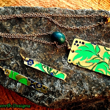 Jewelers Brass Leaf and Flower Pattern Texturized Pendant and Earrings with Hand Painted Patina Accents