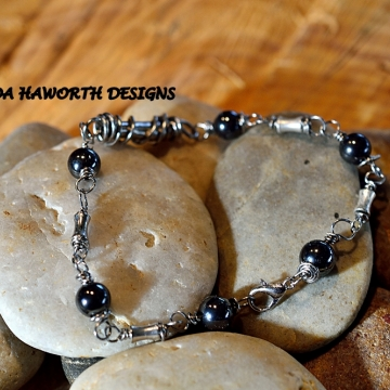 Hematite Stone Bracelet , Silver Plated Copper Accent Pieces