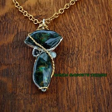 Double Labradorite Pendant / Necklace Silver Bezel Set Copper Backing