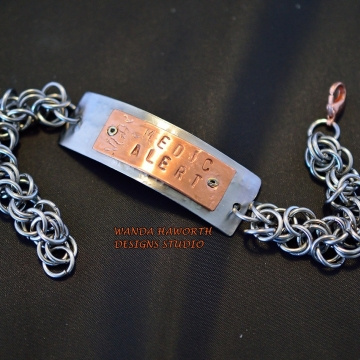 Stainless steel ID Medic Alert Bracelet , Stainless steel chainmaille bracelet , Copper on Stainless ID portion , Lobster clasp closure