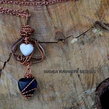 Double Heart Copper Pendant with White Turquoise Heart On Top and Black Onyx Heart On The Bottom