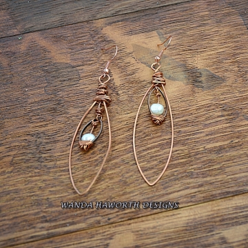 Oval Copper Hoop and  Freshwater Pearl Earrings