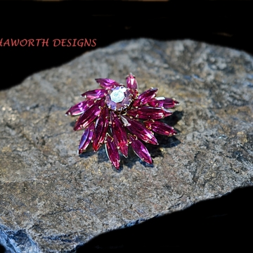 Restored Dome Style Broach , Rose colored Swarovski Crystals , From the 1920's