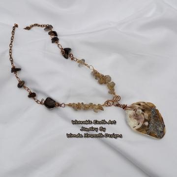 Sea shell pendant necklace , Rutilated and smokey quartz accent stones , Antique copper chain , Gold anodized wire ,Antique copper wire