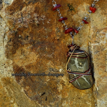 Hand wired Septarian ( Dragon Stone ) Pendant Necklace