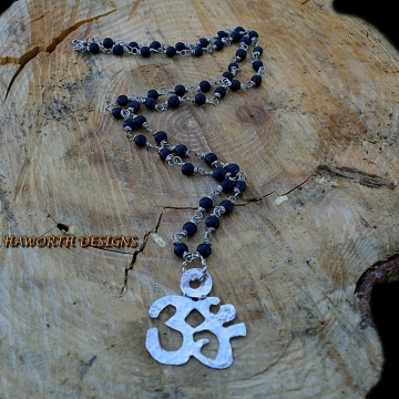 Sterling Silver ( 92.5 ) Ohm Pendant , Hand Cut and Hammered , Black Matte Finish Onyx 6 mm Bead Necklace