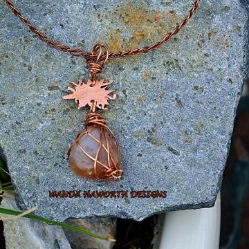 Sunstone and Copper Woven Choker Pendant / Necklace ,