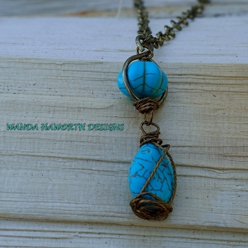 Turquoise Double Drop Pendant Necklace , Wrapped In Brass Twisted Wire